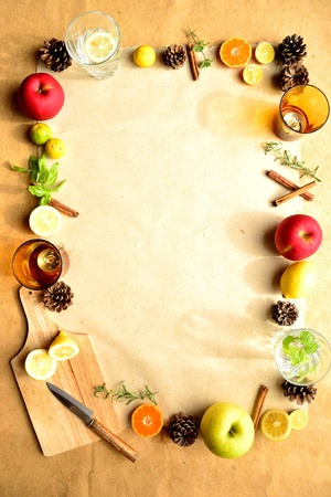 Fruits,herbs and kitchen supplies photo