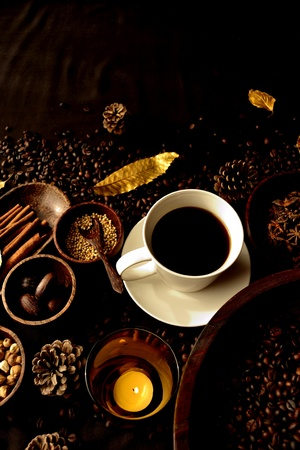 Spice and hot coffee photo