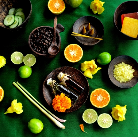 Asian spa supplies and citrus fruit photo
