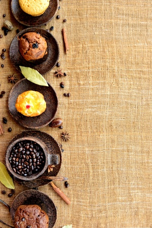 Coffee beans and muffins photo