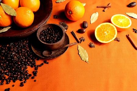 Coffee beans and orange Stock Photo