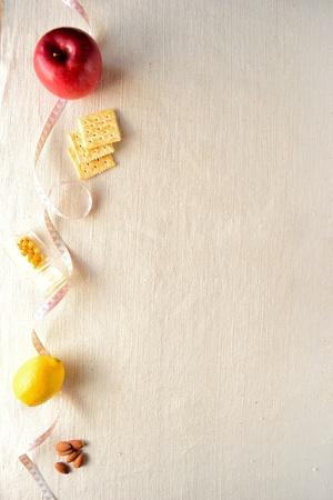 테이프 단위와 사과, 건강 식품 스톡 콘텐츠