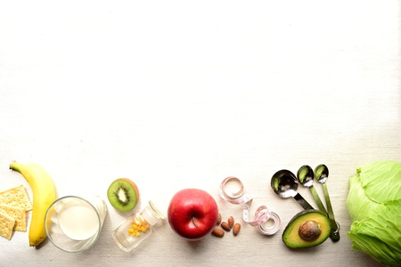Vegetable,fruit and measure Stock Photo