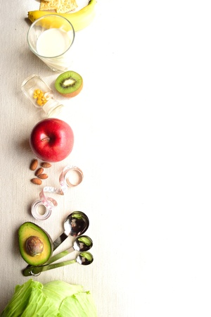 Vegetable,fruit and measure 写真素材