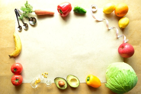 다이어트를위한 야채와 과일 스톡 콘텐츠