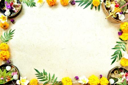 Balinese hindu offerings with marigold
