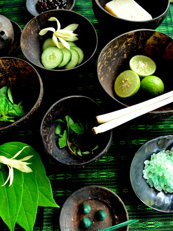 Asian spa supplies with herb