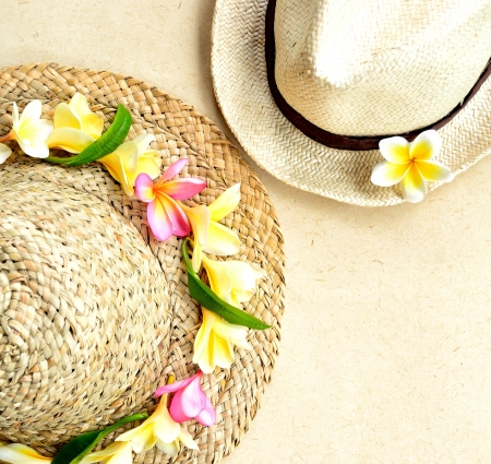 Straw hat of plumeria image of honey moon Stock Photo - 14419136