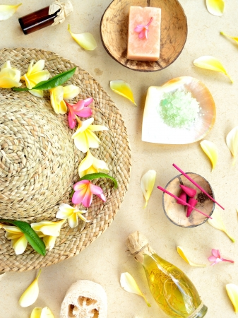 Straw hat with spa supplies photo