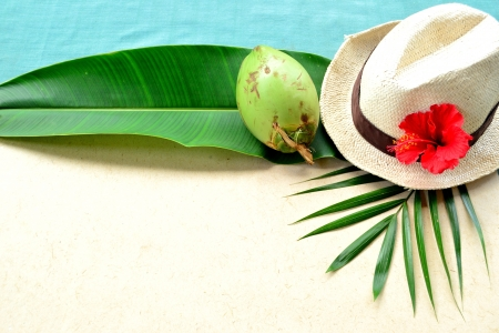 Men s straw hat with red hibiscus