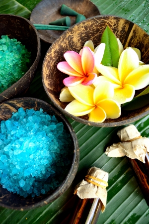 spa supplies with plumeria photo