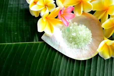 Bath salt with plumeria photo