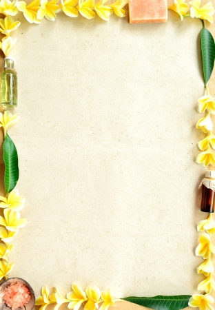 Plumeria with spa supplies photo