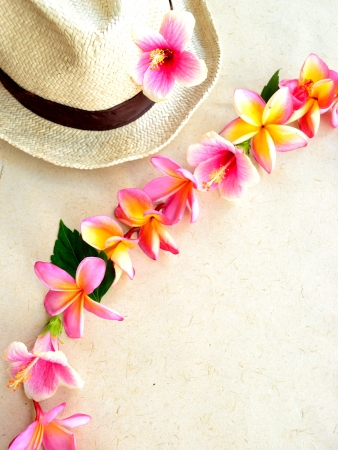 Men s straw hat with pink plumeria lei photo