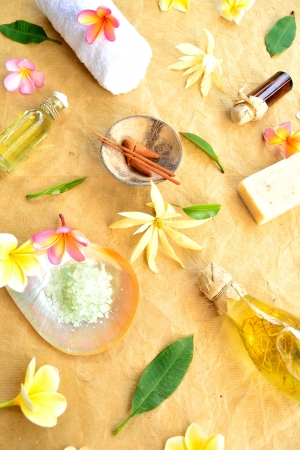 Tropical flowers with spa supplies photo