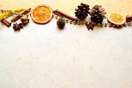 pine cone: spices,orange and pine cone Stock Photo