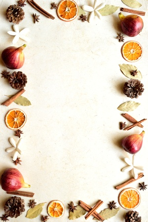 Figs,spice and pine cone Autumn image 写真素材