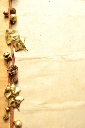 Gold holly leaves with pine cone frame photo