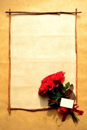 Frame of red rose bouquet with message card Stock Photo - 16850825