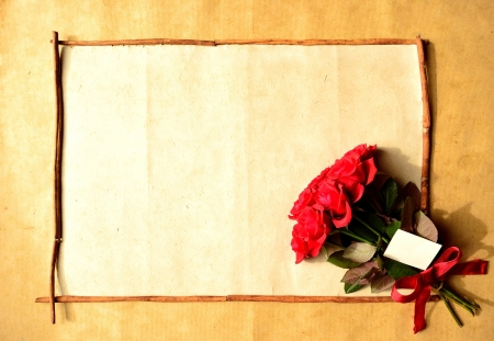 Frame of red rose bouquet with message card Stock Photo - 16850814