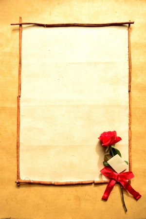 Frame of red rose with message card Stock Photo - 16850811