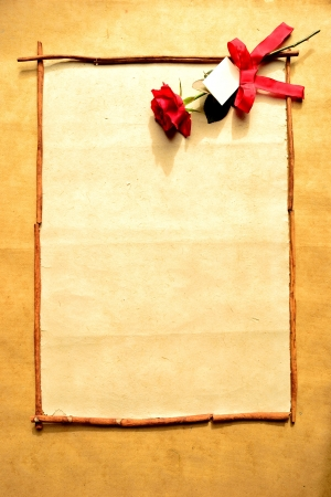 Frame of red rose with message card Stock Photo - 16850817