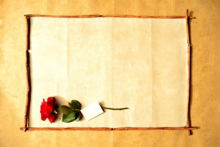 Frame of red rose with message card Stock Photo - 16850818