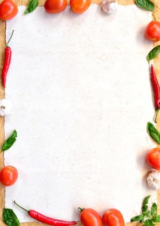 Tomato,garlic,red pepper and basil leaf  frame