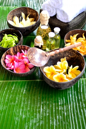 Tropical Asian flowers with spa supplies photo