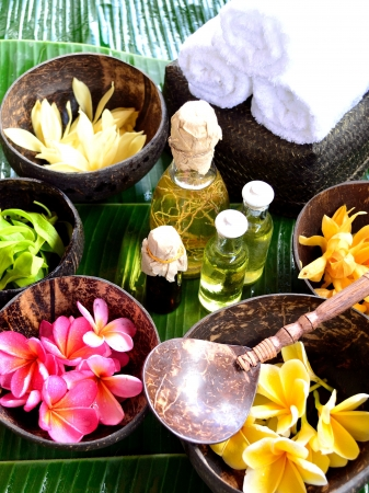 Tropical Asian flowers with spa supplies