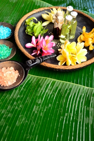 Bath salt with tropical flowers photo