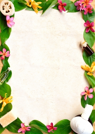 Tropical flowers,herb and spa supplies frame photo