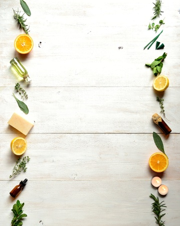 essential oil: Fruits,herbs and aromatherapy supplies frame