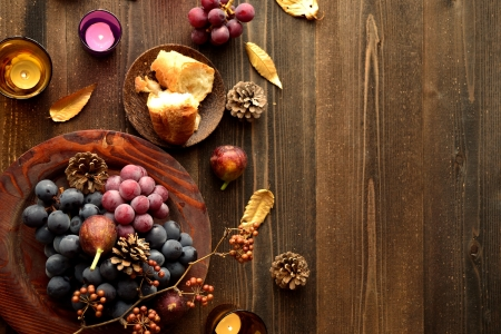 Grapes with bread wood background 写真素材
