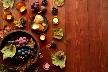 Grapes with breads brown wood background 写真素材