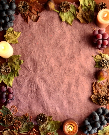 Grapes,candles and fall leaf frame