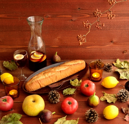 Breads with fruits on brown wood background 写真素材