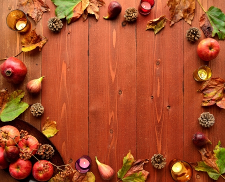 Autumn fruits with fall leaves 写真素材