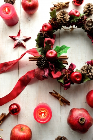 Christmas wreath with apples Stock Photo