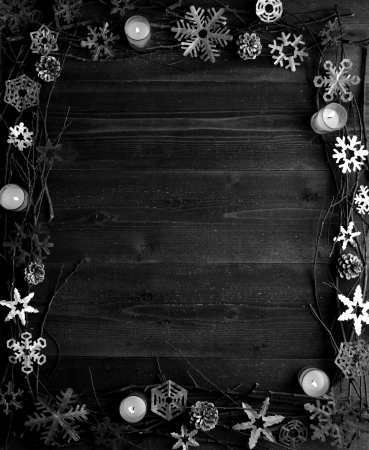 b and w: Snow flakes,candles and twigs B W