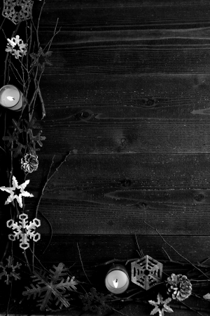 b w: Snow flakes,candles and twigs B W
