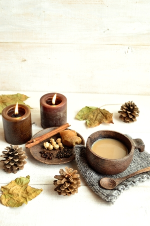 spiced: Spiced tea with spices image of winter season