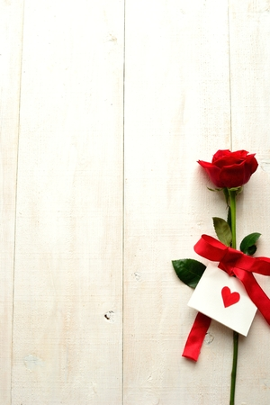 Red rose with card  Image of Valentines day