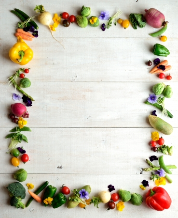 Spring vegetables with flowers