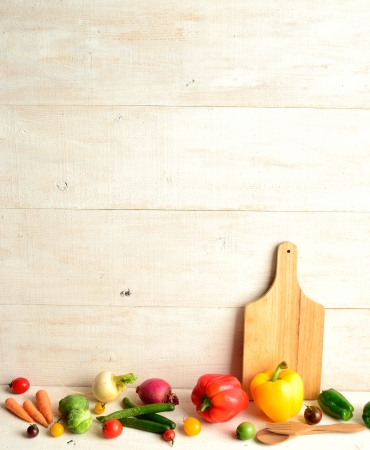 cutting bord: Colorful vegetables with cutting bord Stock Photo
