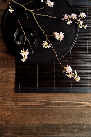 Cherry blossoms on Japanese black tray