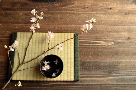 Cherry blossoms on tatami mat
