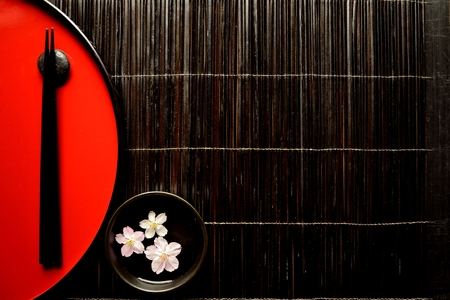 lacquerware: Japanese red tray,chopsticks and cherry blossoms