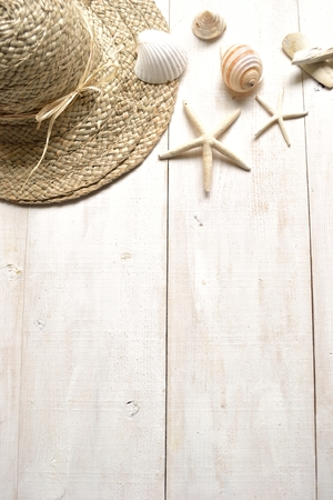 straw hat: Straw hat with shells Stock Photo