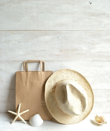 craft paper: Craft paper bag,men s straw hat and shells